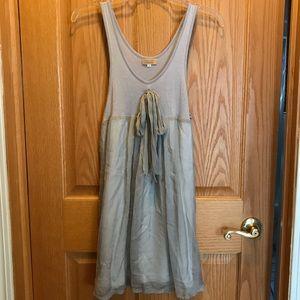PIKO silk dress/tunic. Medium, gray with underlay